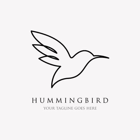 hummingbird line logo icon designs , line art style and minimalist Çizim