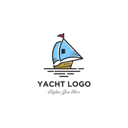 Minimalist Sail boat - vector logo template concept illustration. Ship sign. young and youthful Ilustrace