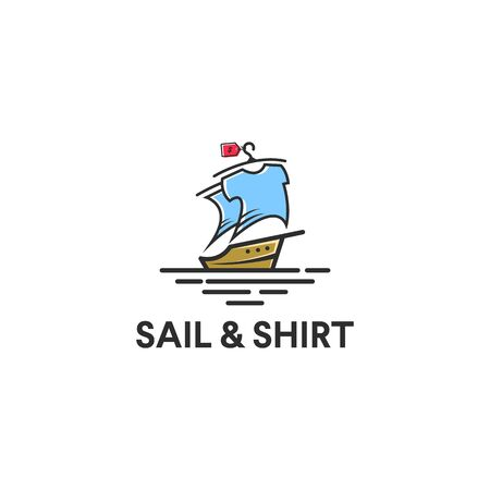sailing yacht logo with the shirt on the sail screen idea, colorful and youthful