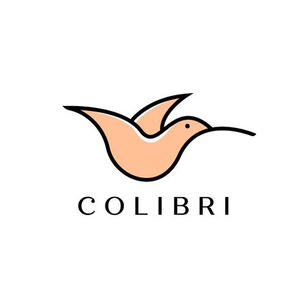 colibri or hummingbird logo design with simple line art logo type