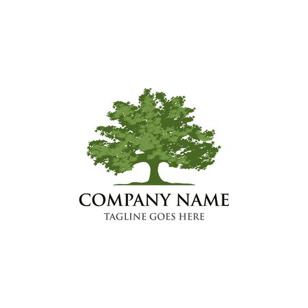 Green tree Silhouette of a tree, Vector logo design