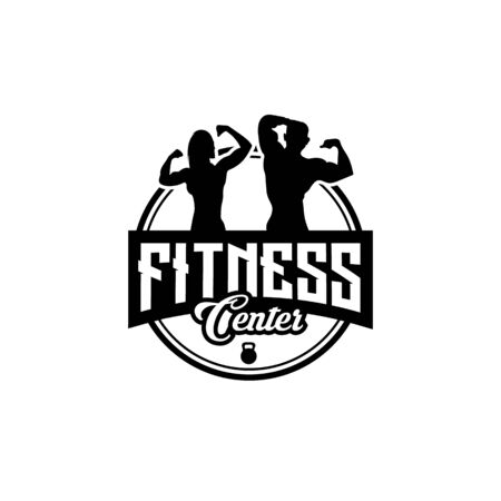 Fitness club designs with exercising athletic man and woman isolated on white, vector illustration