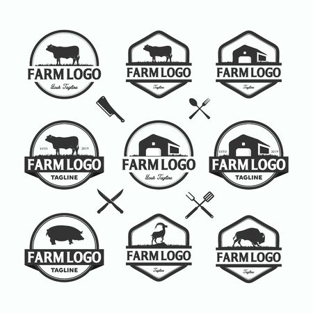Farmers market logos templates vector objects set. Logotypes or badges design