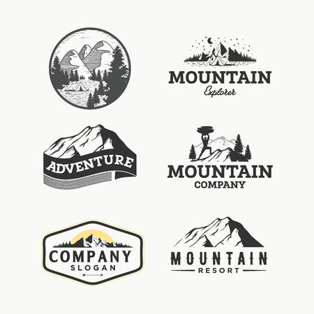 vector set of wilderness and nature outdoor vintage logos, emblems, silhouettes and design elements