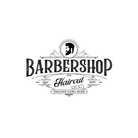 Barbershop logo design. Vintage lettering illustration on white background.