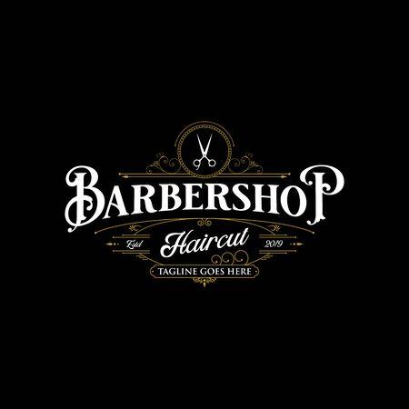 Barbershop logo design. Vintage lettering illustration on dark background.
