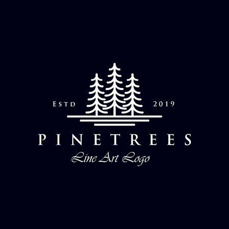 Einfache Linie Art Evergreen / Pine Tree Logo-Design Logo