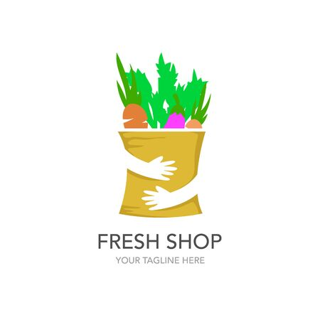 Fresh shop Shopping Logo design vector template. Hands Holding Bag Logotype