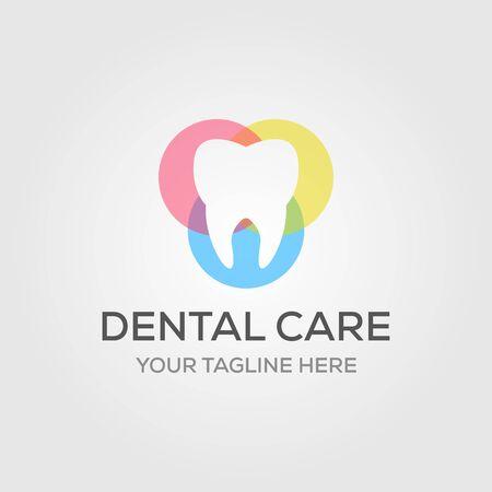 conceptions de logo de soins dentaires ou de dentiste de couleur qui se chevauchent dans le symbole de luxe