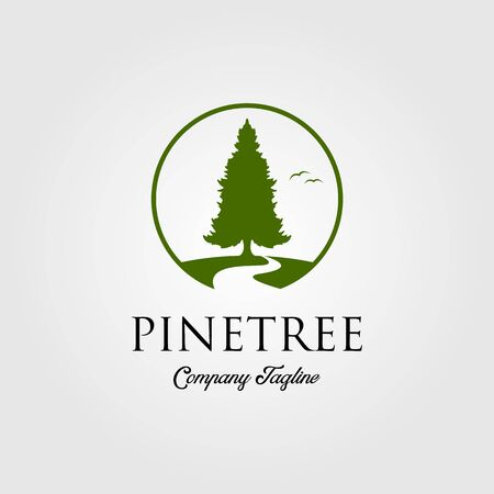 pine tree logo with river or creek