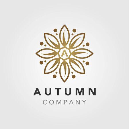 Elegant Luxury autumn Flower Mandala logo design