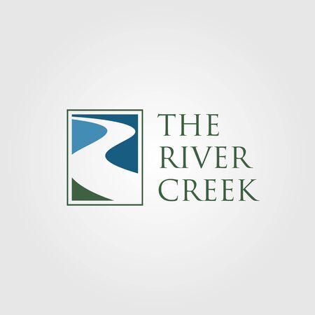 vintage river creek logo vector designs