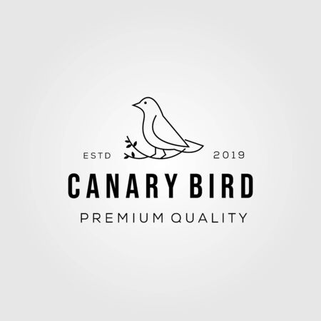 line art canary bird on root logo vector icon illustration