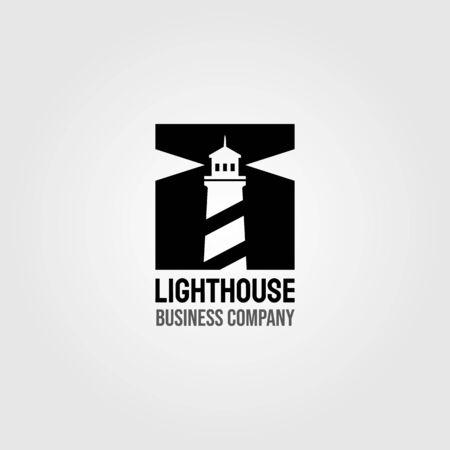 vintage lighthouse negative space square logo design illustration Logo