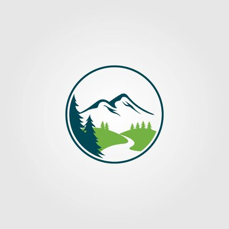 Abenteuer Pine Tree Creek Natur Fluss Logo Vektor Design Logo