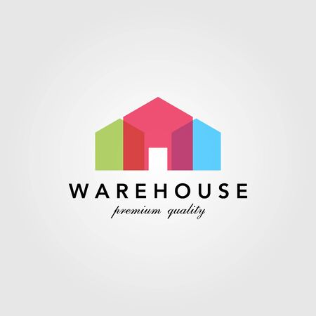 modern warehouse barn building colorful logo design overlapping style