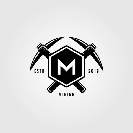 pickaxe crosses over letter m hexagon vintage logo design illustration