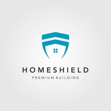 minimalist home building shield logo vector illustration design
