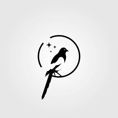 magpie bird negative space logo vector illustration