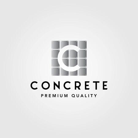 faux concrete letter c exposed wall panel logo vector illustration Illustration