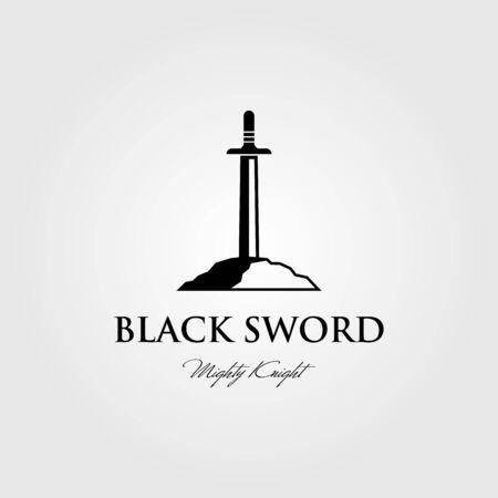 black sword logo stuck in stone vector design illustration