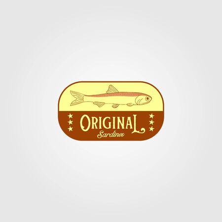 original sardine fish vintage logo label emblem packaging vector icon seafood design Logo