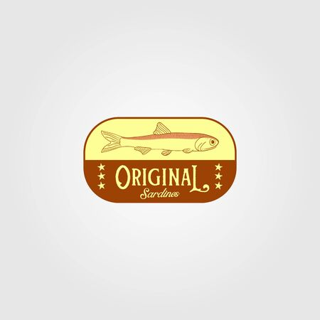 original sardine fish vintage logo label emblem packaging vector icon seafood design
