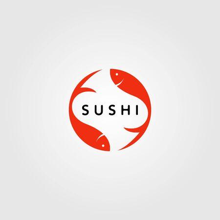 sushi japan fish food logo design vector illustration design