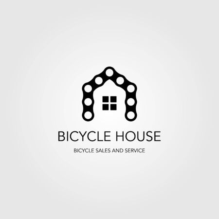chain bicycle house bike logo vector illustration design