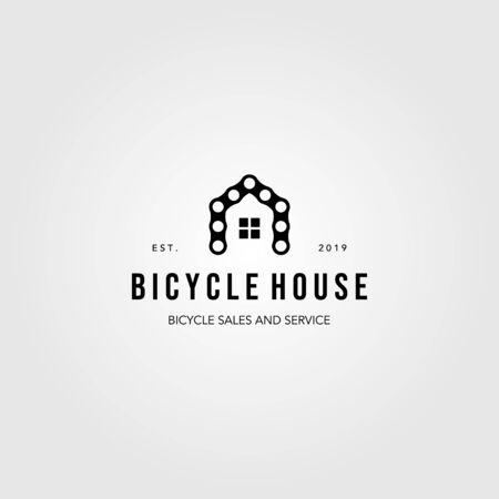 chain bicycle house bike logo vintage vector illustration design