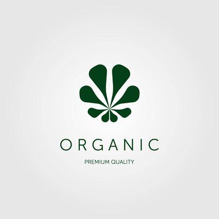 organic leaf logo vector design illustration, cannabis logo negative space