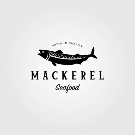 vintage mackerel fish logo label emblem vector seafood illustration