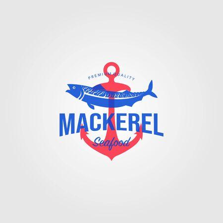 mackerel fish logo vintage seafood with anchor label badge vector illustration