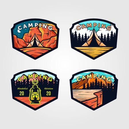 set of vintage camping logo outdoor adventure emblem vector illustration design