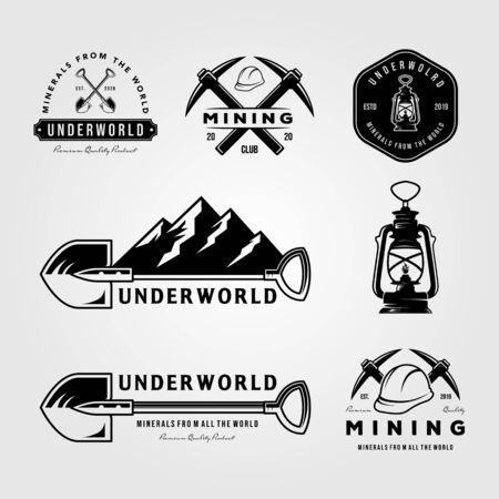 set of mining vintage logo emblem vector badge retro illustration design