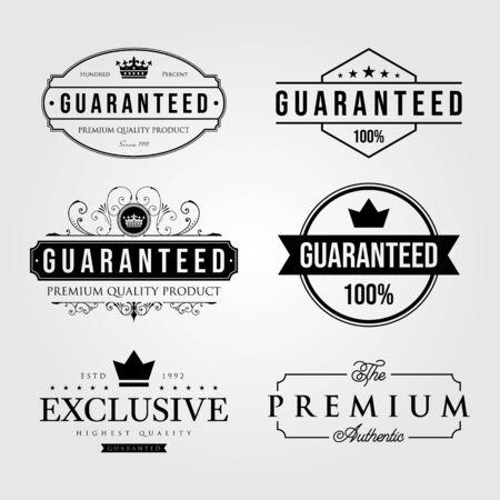 set of vintage premium retro guaranteed label logo illustration vector design Ilustração