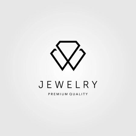 line art diamond jewelry logo vector illustration design