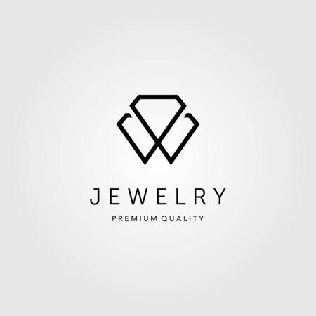 L'art de la ligne de bijoux en diamant logo design d'illustration vectorielle
