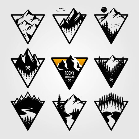 set of vintage mountain triangle logo view landscape outdoor adventure vector illustration design
