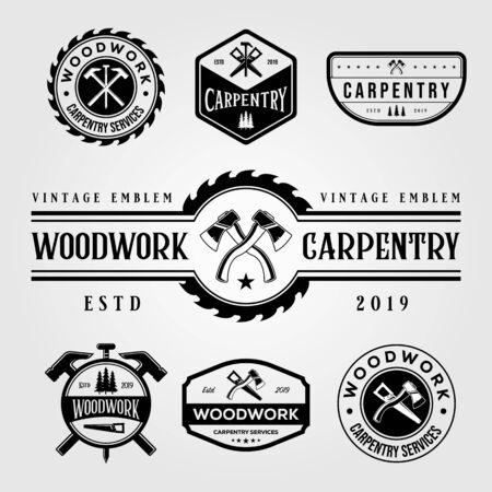set of carpentry woodwork vintage logo craftsman vector illustration design