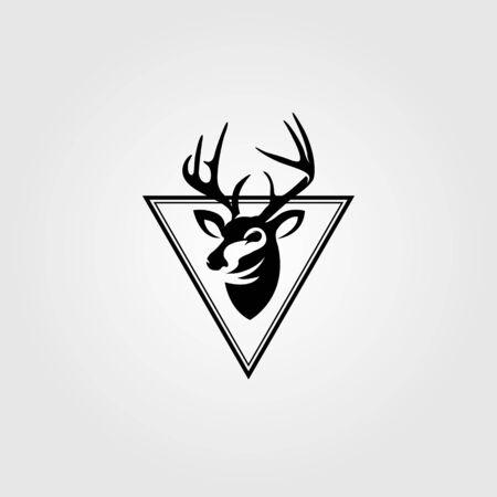 dear head emblem vintage in triangle logo vector design illustration Logo