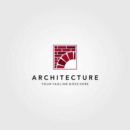 vintage bridge logo construction brick vector emblem illustration design