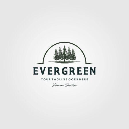 pine trees evergreen Vintage logo vector illustration design