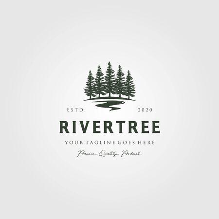 evergreen pine tree logo vintage with river creek vector emblem illustration design Logos