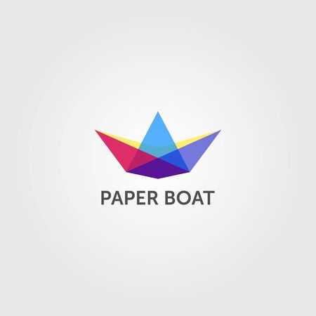 paper boat overlapping logo colorful vector emblem illustration design