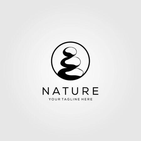 circle stone rock balancing logo spa yoga vector emblem illustration design