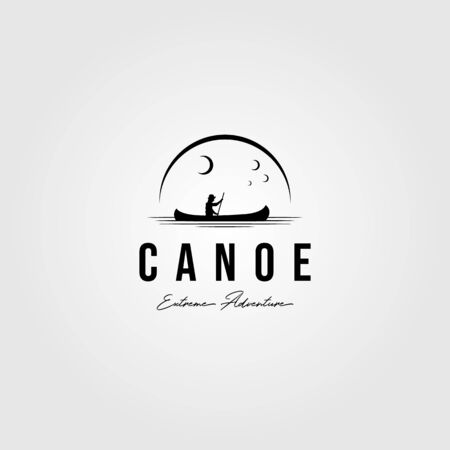 canoe vintage logo paddle outdoor vector illustration design Illustration