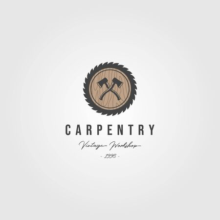grinding carpentry service logo with ax vintage retro illustration Stock Illustratie