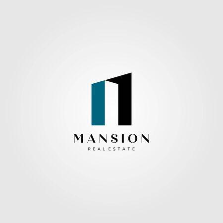 real estate building logo mansion number one vector illustration