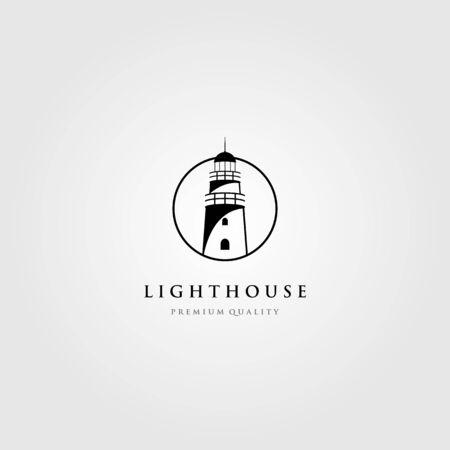 line art lighthouse logo tower in circle frame vector illustration design